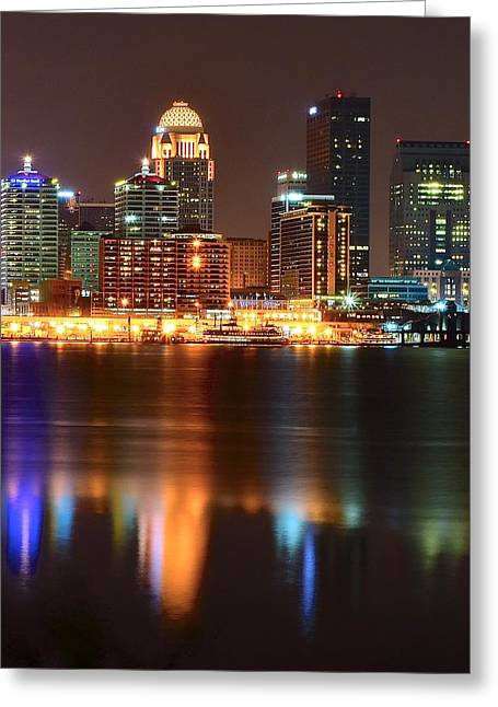Baseball Glove Greeting Cards - Louisville at Night  Greeting Card by Frozen in Time Fine Art Photography