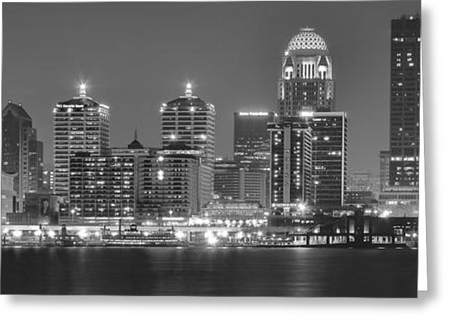Long Gloves Greeting Cards - Louisville Black and White Panorama Greeting Card by Frozen in Time Fine Art Photography