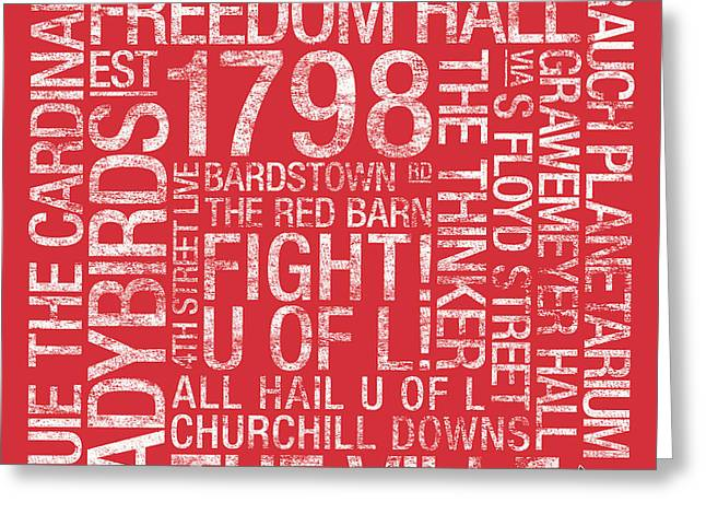 Louisville College Colors Subway Art Greeting Card by Replay Photos