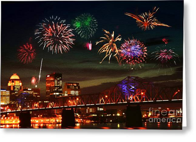 Fire Works Greeting Cards - Louisville Kentucky Celebration Greeting Card by Darren Fisher