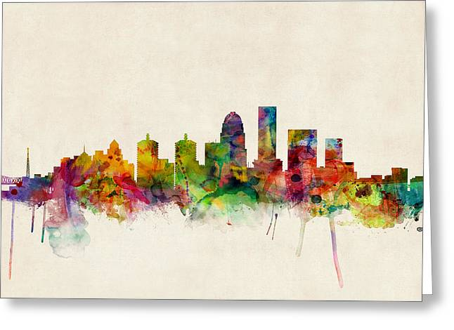 Watercolour Greeting Cards - Louisville Kentucky City Skyline Greeting Card by Michael Tompsett