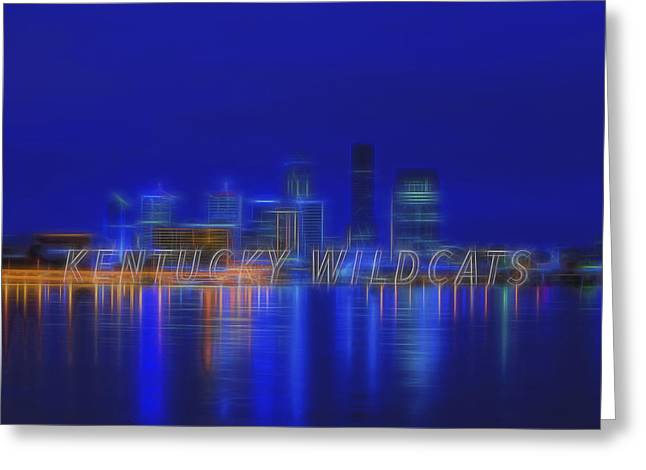 Wildcats Greeting Cards - Louisville Kentucky Skyline Wildcats Blue Greeting Card by David Haskett