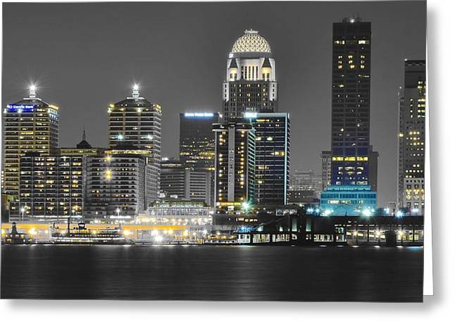 After World Greeting Cards - Louisville Lights Up Greeting Card by Frozen in Time Fine Art Photography