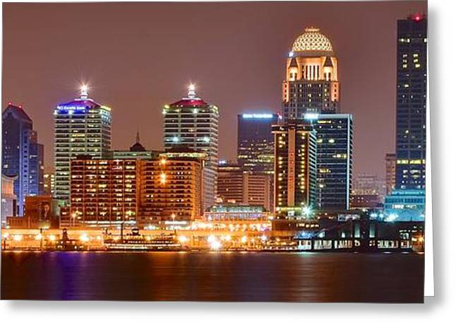 Long Street Greeting Cards - Louisville Panoramic View Greeting Card by Frozen in Time Fine Art Photography