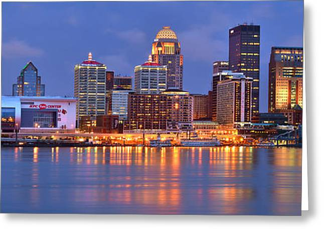 Night Scenes Greeting Cards - Louisville Skyline at Dusk Sunset Panorama Kentucky Greeting Card by Jon Holiday