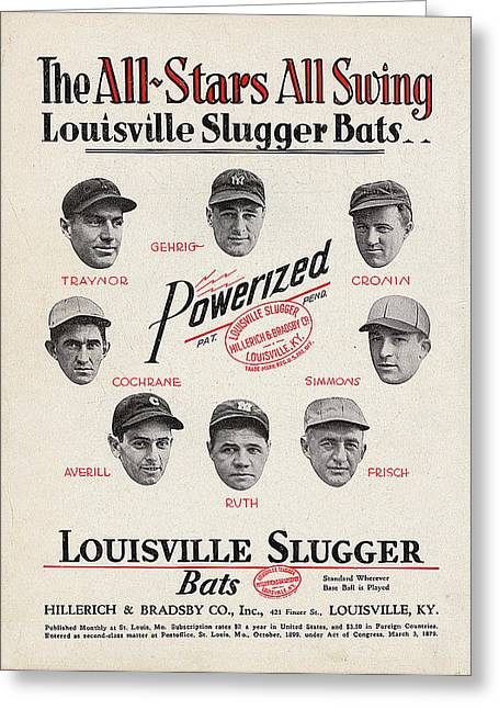 Louisville Slugger Bats Greeting Card by Unknown