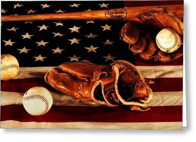 American Flag Photography Greeting Cards - Louisville Slugger Greeting Card by Dan Sproul