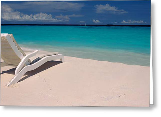 Lounge Greeting Cards - Lounge Chair On The Beach, Thulhagiri Greeting Card by Panoramic Images