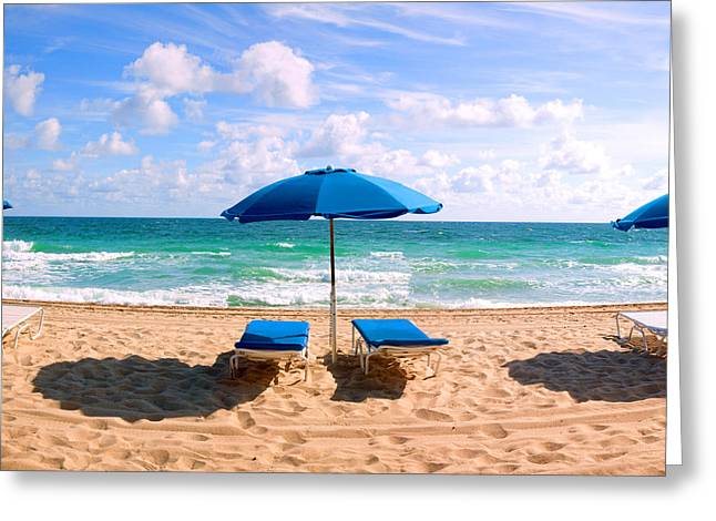 Fort Lauderdale Greeting Cards - Lounge Chairs And Beach Umbrella Greeting Card by Panoramic Images