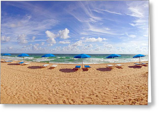 Lounge Chairs Greeting Cards - Lounge Chairs And Beach Umbrellas Greeting Card by Panoramic Images