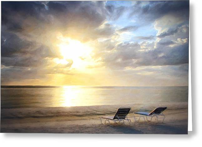 Amazing Sunset Greeting Cards - Lounge Chairs at Sunset Greeting Card by Vicki Jauron