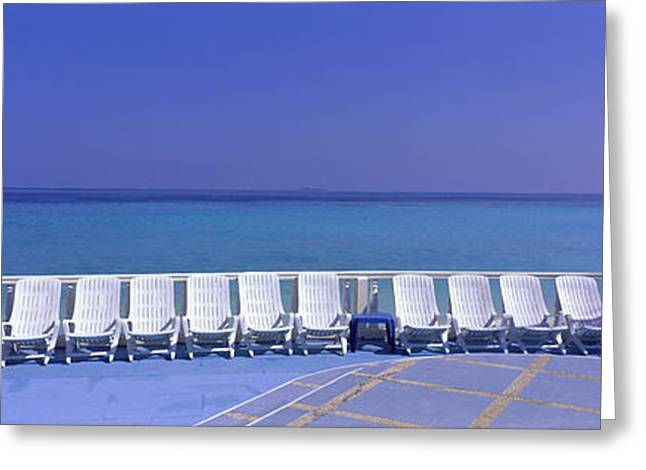 Lounge Photographs Greeting Cards - Lounge Chairs, Giraavaru, Maldives Greeting Card by Panoramic Images