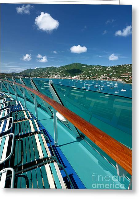 Sailboat Greeting Cards - Lounge Chairs on Cruise Ship Greeting Card by Amy Cicconi