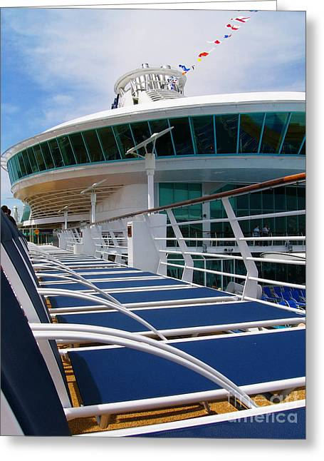Pool Deck Greeting Cards - Lounge Chairs on Liberty of the Seas Cruise Ship Greeting Card by Amy Cicconi
