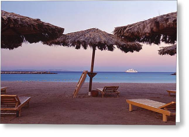 Hilton Greeting Cards - Lounge Chairs With Sunshades Greeting Card by Panoramic Images
