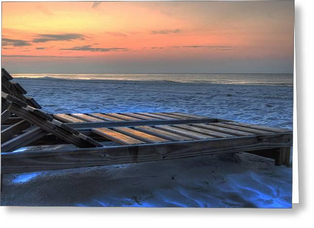 Michael Thomas Greeting Cards - Lounge Closeup on Beach ... Greeting Card by Michael Thomas