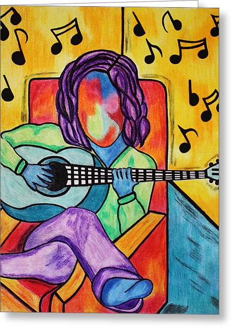 Lounging Pastels Greeting Cards - Lounge Music Greeting Card by Morning Coffee
