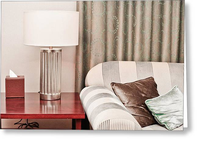 Cushion Greeting Cards - Lounge Greeting Card by Tom Gowanlock