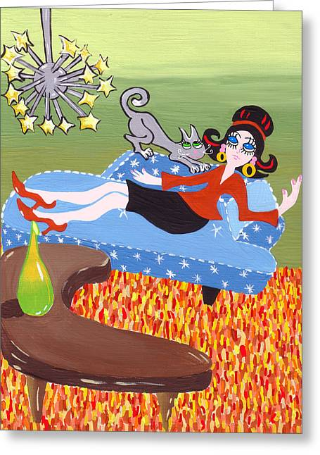 Lounge Paintings Greeting Cards - Lounging Cat Retro Scene Greeting Card by Lynnda Rakos