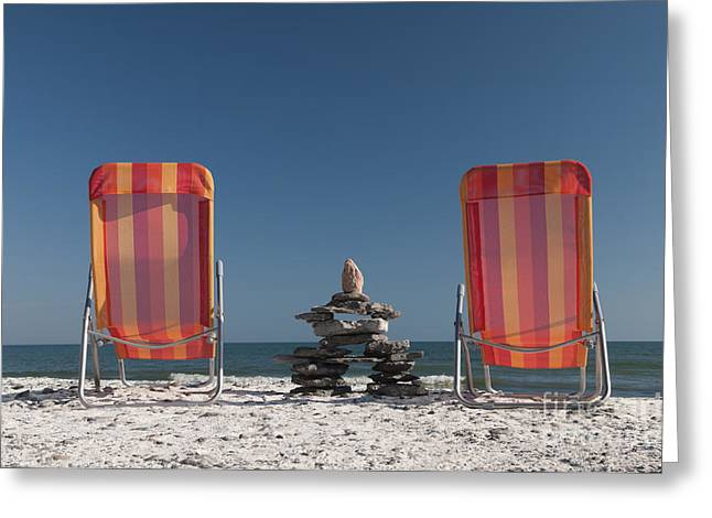 Lounging With Inukshuk Greeting Card by Gord Horne