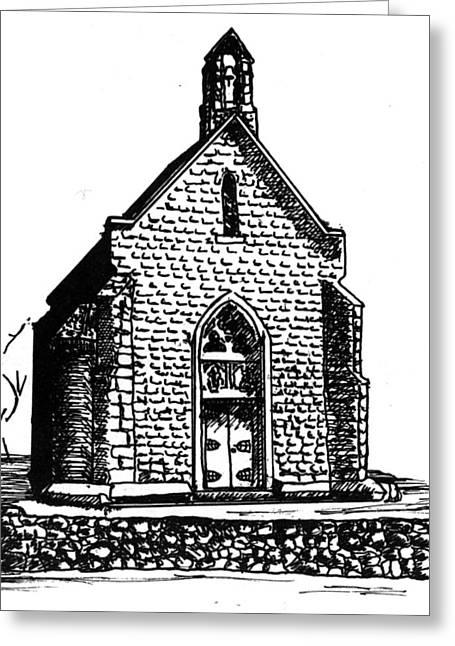 Adobe Drawings Greeting Cards - Lourdes Chapel Peublo Greeting Card by Del Gaizo