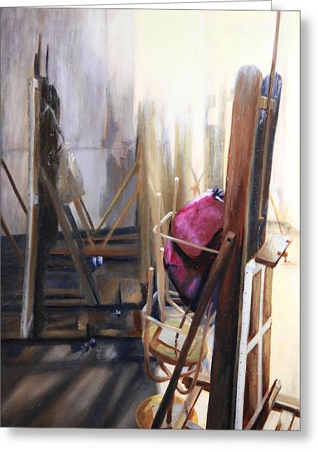 Interior Still Life Paintings Greeting Cards - Louvre Closet Greeting Card by Shelley Irish
