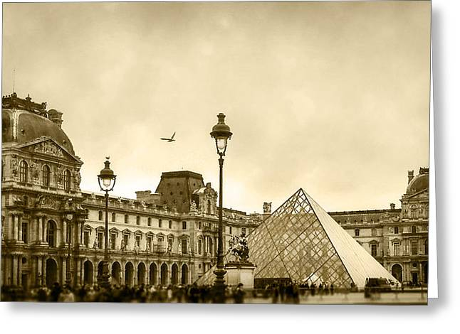 Pyramids Greeting Cards - Louvre Greeting Card by Katie Quinn