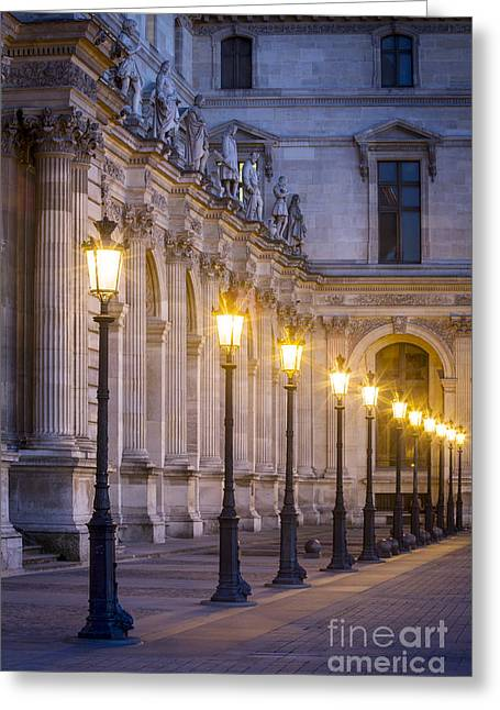 Night Lamp Greeting Cards - Louvre Lampposts Greeting Card by Brian Jannsen