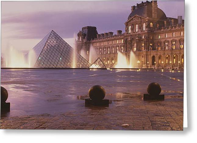 Institution Greeting Cards - Louvre Museum Paris France Greeting Card by Panoramic Images