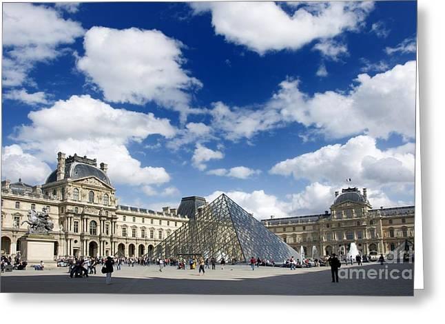 Pyramids Greeting Cards - Louvre Museum. the Pyramid. Paris Greeting Card by Bernard Jaubert