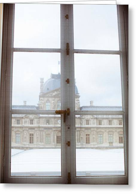 Window Frame Greeting Cards - Louvre Museum Viewed Through A Window Greeting Card by Panoramic Images