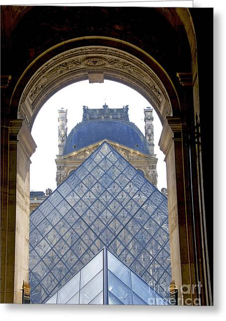 Pyramids Greeting Cards - Louvre Palace museum.Paris. France Greeting Card by Bernard Jaubert
