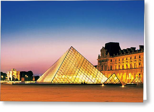 Streetlight Greeting Cards - Louvre Paris France Greeting Card by Panoramic Images