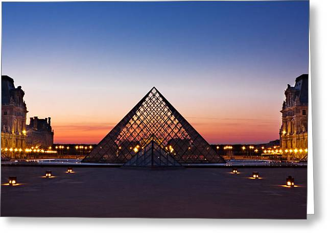 """glass Museum"" Greeting Cards - Louvre Pyramid at Dusk / Paris Greeting Card by Barry O Carroll"