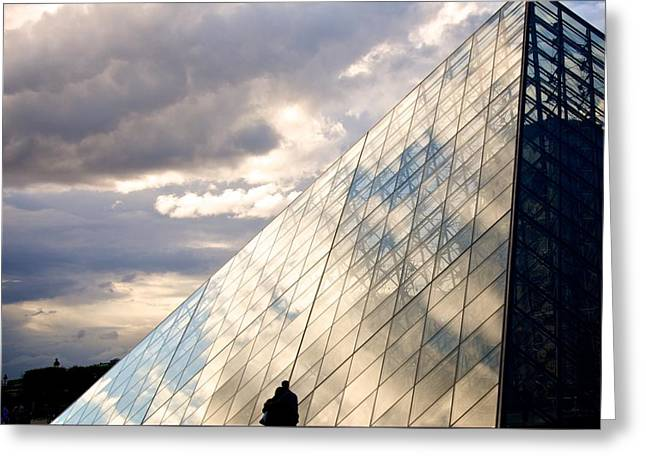 Historic Architecture Greeting Cards - Louvre pyramid. Paris Greeting Card by Bernard Jaubert