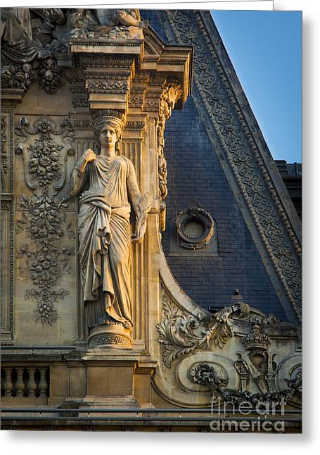 Caryatids Greeting Cards - Louvre Roof Detail Greeting Card by Brian Jannsen