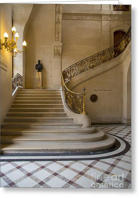 Stepping Stones Greeting Cards - Louvre Staircase Greeting Card by Brian Jannsen