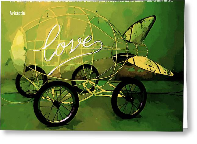 Paper Airplanes Paintings Greeting Cards - Love 1 Greeting Card by Lanjee Chee