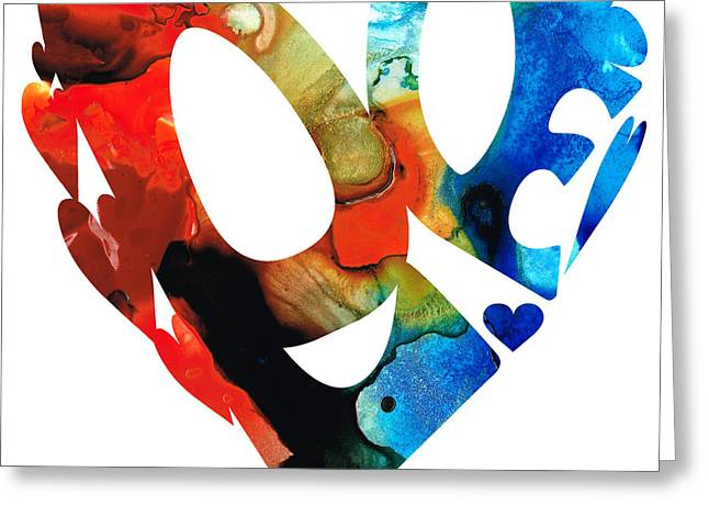 Anniversary Gift Greeting Cards - Love 8 - Heart Hearts Romantic Art Greeting Card by Sharon Cummings