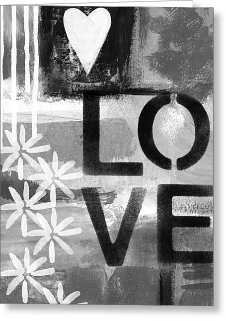 Kitchen Wall Greeting Cards - Love- abstract painting Greeting Card by Linda Woods