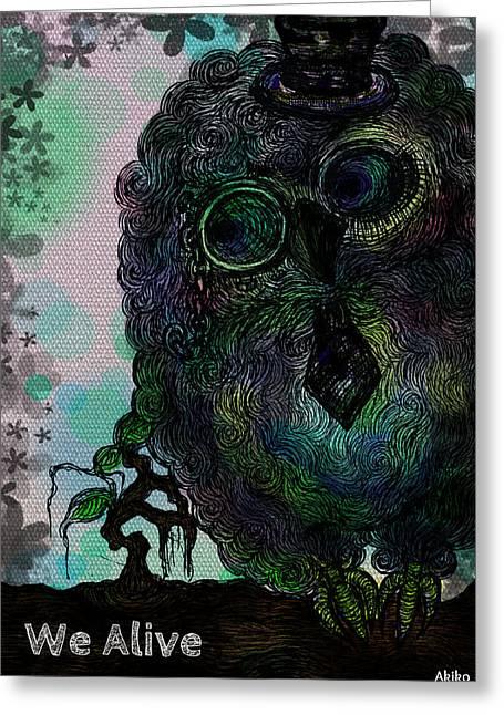 Unique Owl Greeting Cards - Love Alive Greeting Card by Akiko Kobayashi