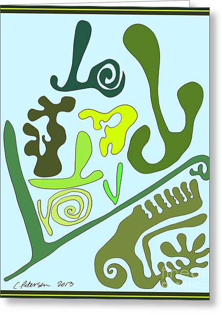 Garden Scene Drawings Greeting Cards - Love all the green vegetables in my garden. Yum. Greeting Card by Cathy Peterson