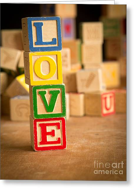 Valentines Day Greeting Cards - LOVE - Alphabet Blocks Greeting Card by Edward Fielding