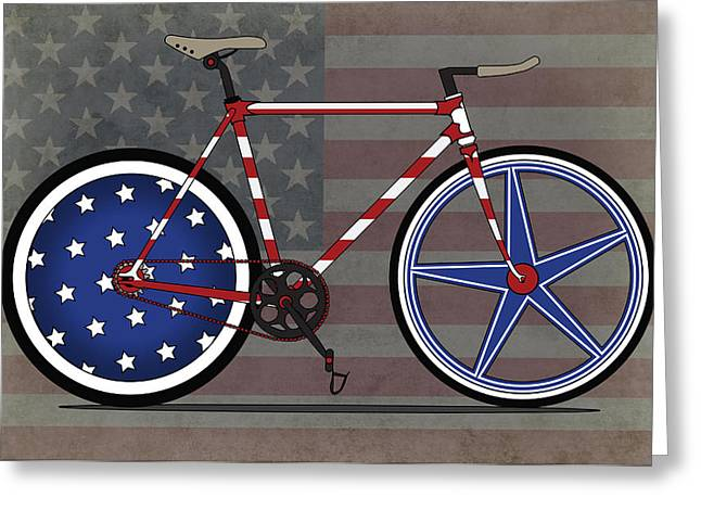 Bike Race Greeting Cards - Love America Bike Greeting Card by Andy Scullion