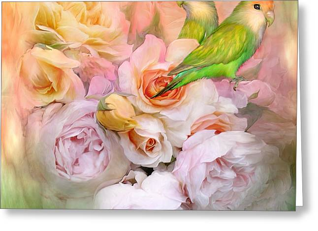 Love Among The Roses Greeting Card by Carol Cavalaris