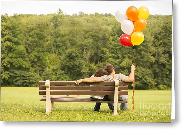 Couples Photographs Greeting Cards - Love and Balloons Greeting Card by Diane Diederich