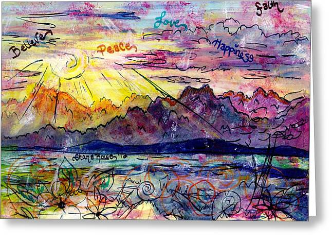 Surreal Landscape Drawings Greeting Cards - Love and be Loved Greeting Card by Shana Rowe