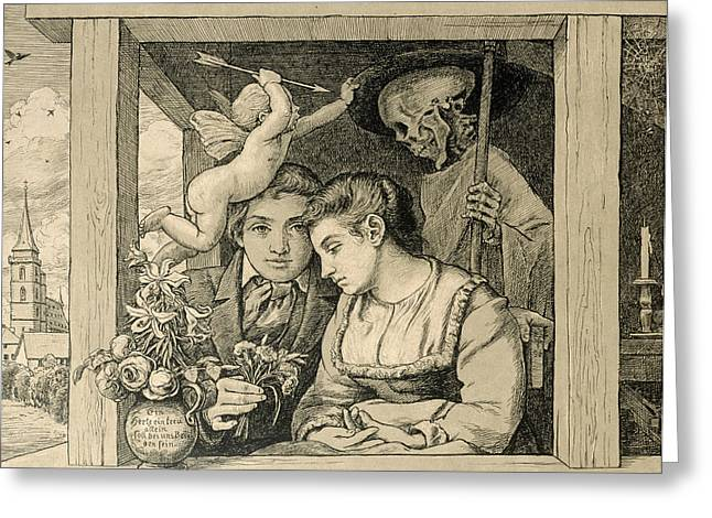 Grim Reaper Greeting Cards - Love and Death The Newlyweds Greeting Card by Hans Thoma