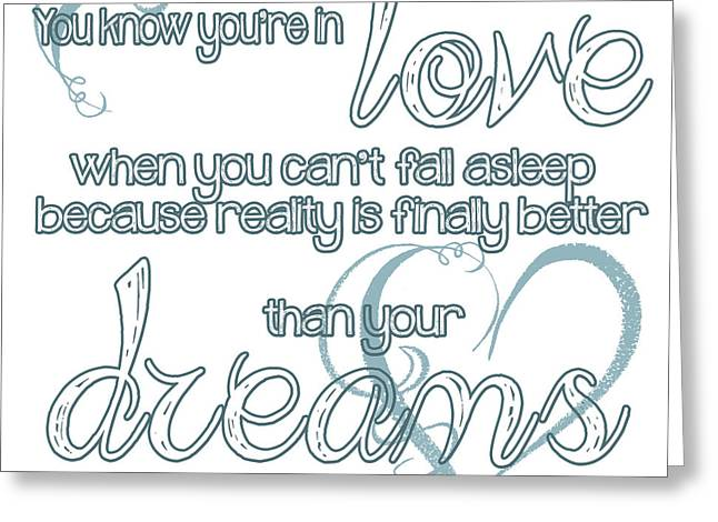 Recently Sold -  - Square Format Greeting Cards - Love and Dreams Quote Greeting Card by Heather Applegate