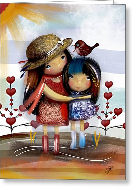 Daughter Gift Greeting Cards - Love and Friendship  Greeting Card by Karin Taylor
